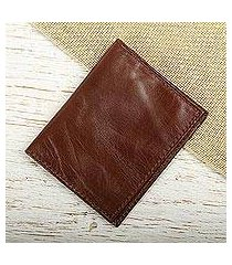 leather bifold card wallet, 'streamlined in brown' (mexico)