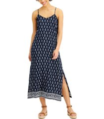 style & co petite printed side-slit dress, created for macy's