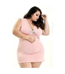 camisola plus size bella fiore modas romantic decote dona rosa