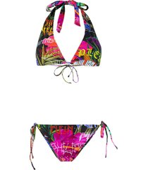 philipp plein crystal embellished bikini - pink
