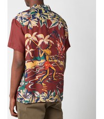 ymc men's malick demon aloha short sleeve shirt - multi - xl