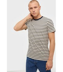 jack & jones jjestriped tee ss crew neck sts t-shirts & linnen vit