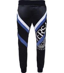 split logo track pants navy and white