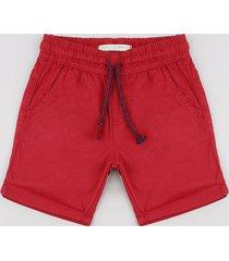 bermuda de sarja infantil com cordão e bolsos vermelha