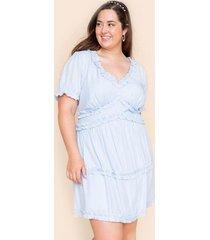 alli ruffled a-line mini dress - light blue