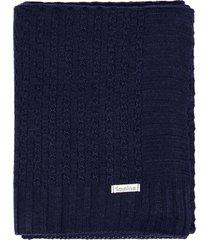 manta cobertor de berço tricô tamine luxo azul marinho - kanui