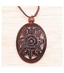 coconut shell floral necklace, 'blossoming hibiscus' (indonesia)