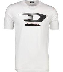 diesel t-shirt ronde hals logo wit katoen