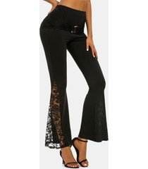 o-ring ruched lace insert flare pants