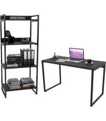 conjunto escritã³rio estilo industrial mesa 135cm e estante 60cm 4 prateleiras prisma preto onix - mpozenato - preto - dafiti