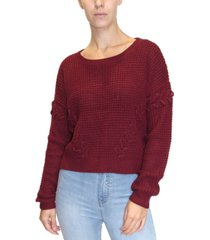 crave fame juniors' lace-up textured sweater