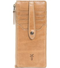 women's frye slim leather snap card wallet - beige