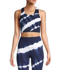 marc new york performance women's tie-dye crop top bra - midnight - size s