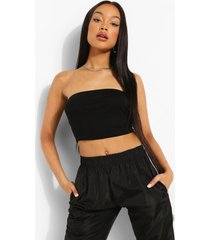 basic jersey bandeau top, black