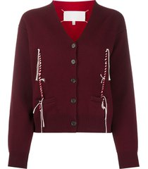 maison margiela twisted thread detail cardigan - red