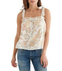 lucky brand easy tie shoulder tank, size small in cream at nordstrom