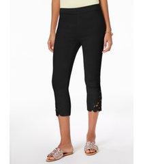inc petite lace-hem capri pants, created for macy's
