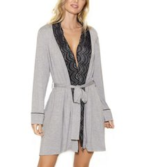 icollection women's cotton blend contrast lace robe