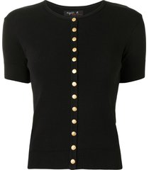 agnès b. short-sleeved cotton cardigan - black