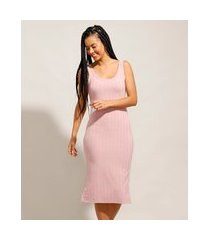 vestido canelado básico com fendas midi alça larga rosê