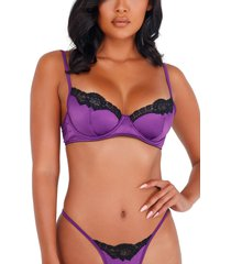 roma confidential lace trim satin underwire bra & thong set, size x-small in purple/black at nordstrom