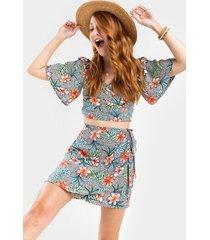 rhonda satin floral print mini skirt - multi