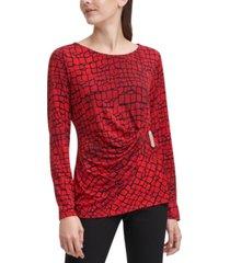 calvin klein embellished logo wrap blouse