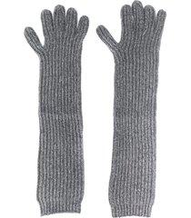 n.peal long ribbed gloves - grey