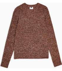 mens brown rust twist knitted sweater