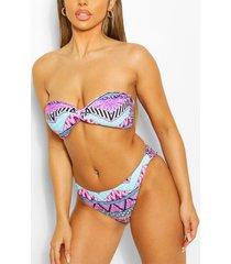 neon mixed print twist bandeau bikini, pink