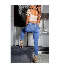 sexy skinny jeans met strik blauw