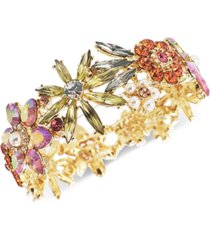 inc gold-tone multi-crystal & imitation pearl flower stretch bracelet, created for macy's