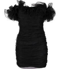 alexandre vauthier polka-dot tulle mini dress - black