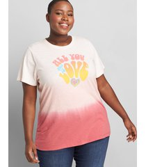 lane bryant women's all you need is love graphic tee 38/40 ombre dip dye
