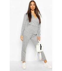 soft wrap front lounge jumpsuit, grey