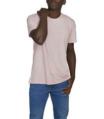 camiseta rosada luck & load cuello redondo con bolsillo