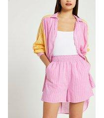 river island womens pink stripe print mini shorts
