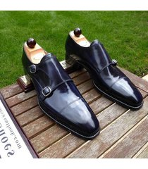 handmade dress shoes blue leather shoes formal shoes men style