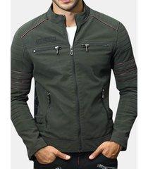 giacca in pu con colletto alla coreana in caldo pile da uomo
