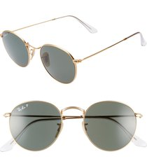 women's ray-ban 50mm polarized round sunglasses - gold/ green solid