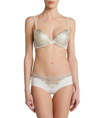 la perla women's metallic macrame padded push-up bra - natural - size 34 b