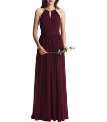 women's #levkoff keyhole neck chiffon a-line gown, size 8 - red