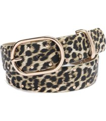 inc flat-stud leopard-print belt, created for macy's
