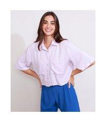 camisa de crepe feminina manga curta ampla cropped com bolsos lilás