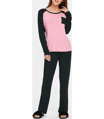 two tone long sleeves pocket pajamas suit