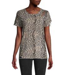 n:philanthropy women's snakeskin-print cotton top - sand python - size s