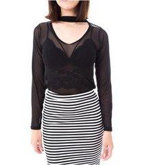 blusa moda vício gola alta com decote manga longa tule feminino