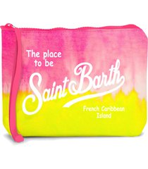 yellow and pink tie dye scuba pochette