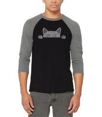 men's peeking cat raglan baseball word art t-shirt