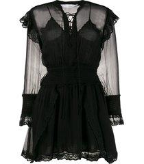 iro sheer panel mini dress - black
